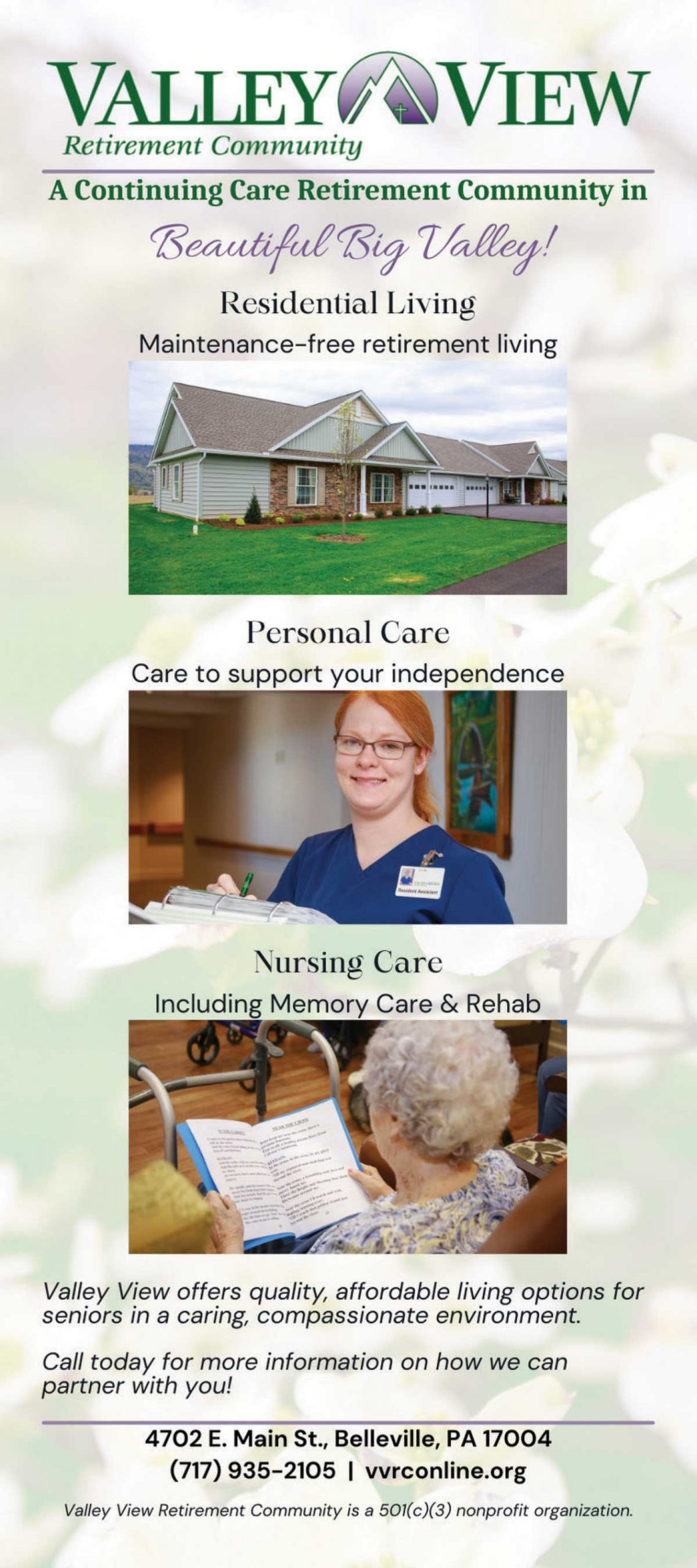 """<center>Valley View Retirement Community 